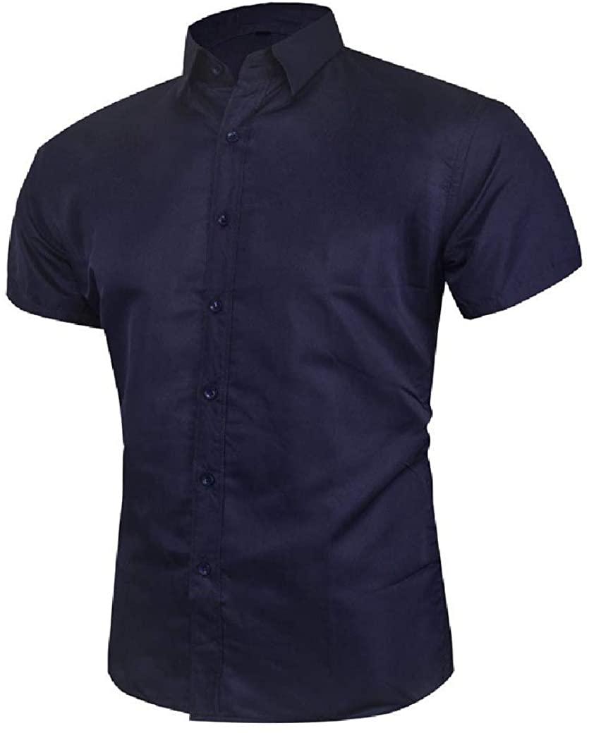 Zimaes Men Business Short Sleeve Lapel Solid Color Buttoned Dress Shirt Top