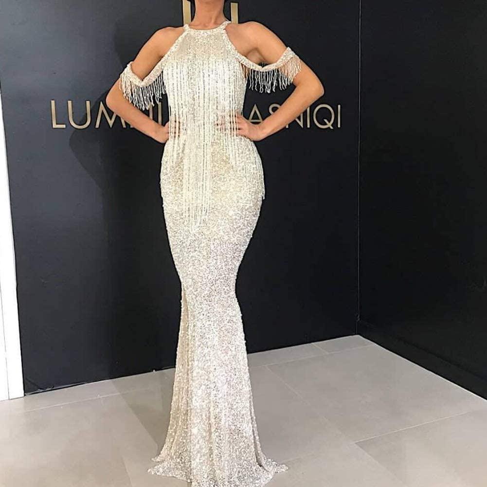 DishyKooker Glitter Tassel Off Shoulder Dance Party Formal Dress Long Style Female Dress