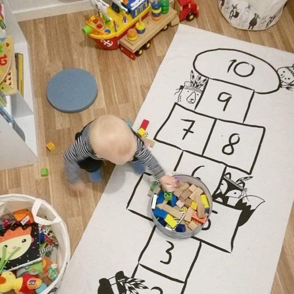 ZMIN Cotton Cartoon Children's Crawling Mat,Digital Checkers Lattice Printing Infant Adventure Crawling Mat Kids Play Rug Game Mat Carpet-White 30x69(75x175cm)