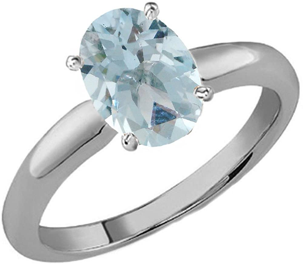 Dazzlingrock Collection 8X6 MM Oval Gemstone Ladies Solitaire Bridal Engagement Ring, Sterling Silver