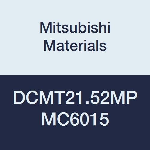 Mitsubishi Materials DCMT21.52MP MC6015 CVD Coated Carbide DC Type Positive Turning Insert with Hole, Rhombic 55°, 0.25