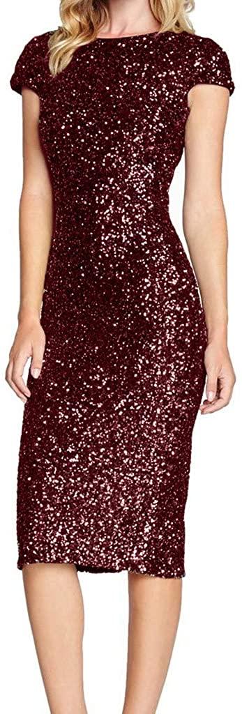 Adeliber Women's Sparkle Glitzy Glam Sequin Short Sleeve Flapper Party Club Dress
