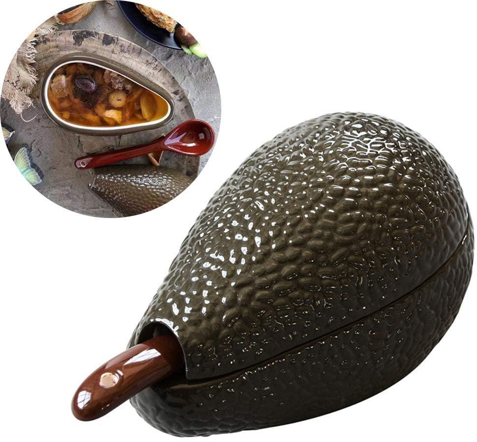 ZPFDM Avocado Ceramic Bowl, Guacamole Bowl with Spoon, Great for Serving Homemade Guacamole, Avocado Dip, Guacamole Serving Tray, Fruit, Cold Dish Bowl