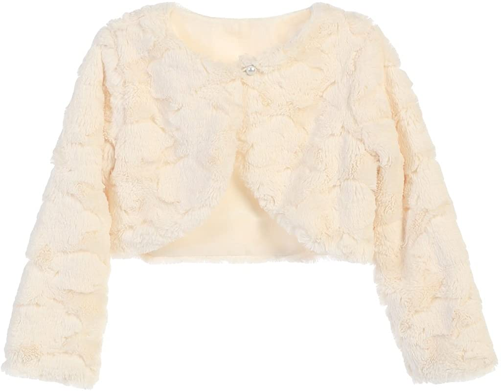 Dreamer P Little Girls Faux Fur Rose Design Flower Girl Bolero Sweater Jacket Cover