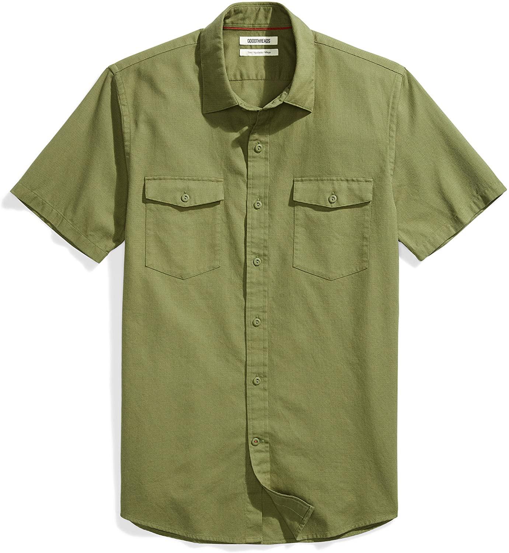 DHgate Brand - Goodthreads Men's Slim-Fit Short-Sleeve Ripstop Dobby Shirt