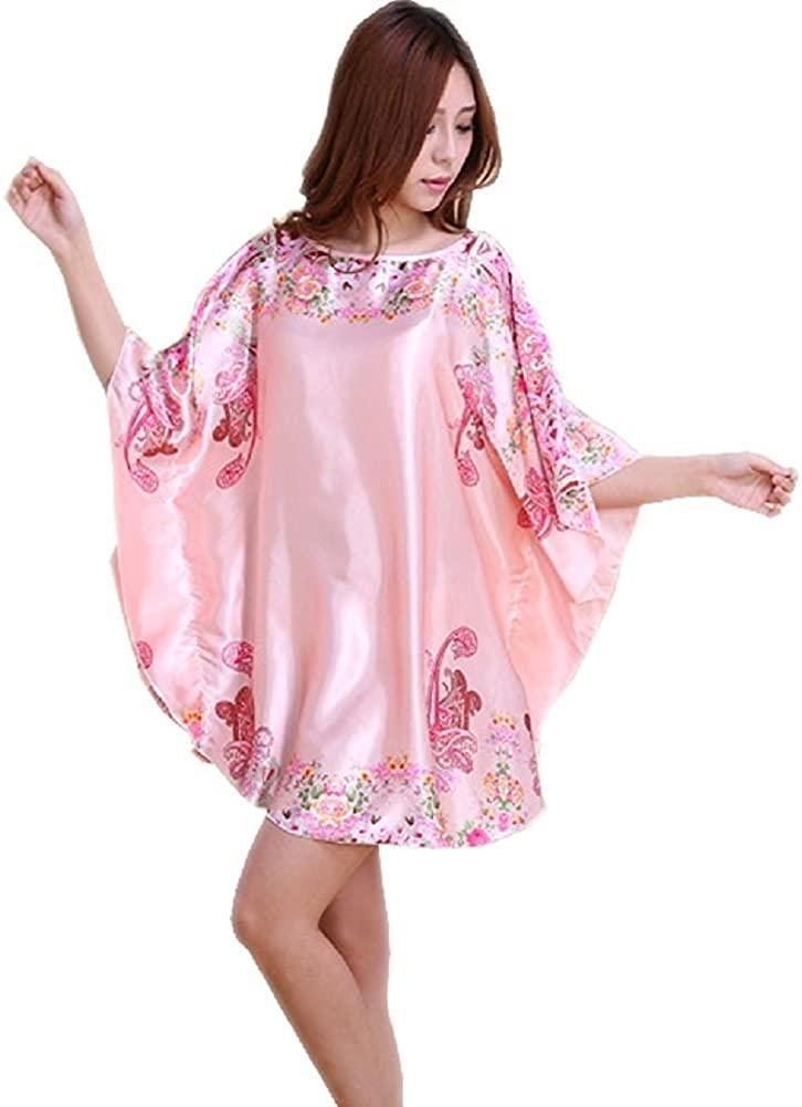 Globalwells Women's Short Batwing Sleeve Pajamas Satin Silk floral Nightgown Dress set B