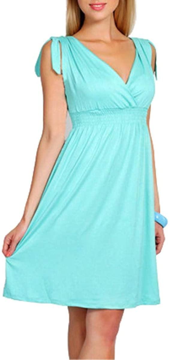 Fantastic Baby Summer Maternity Dresses V-Neck Breastfeeding for Pregnant Women Pregnancy Clothing,Light Blue,XL