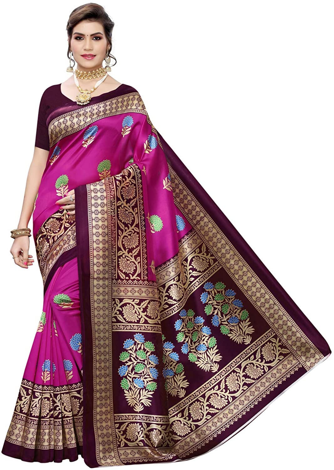 Indian Decor & Attire Womens Poly Silk Printed Saree with Blouse Pink
