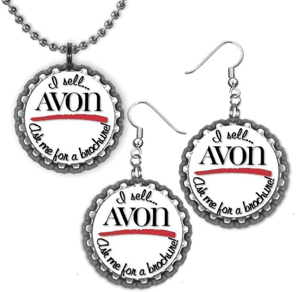 I Sell Avon Ask me for A Brochure Representative Bottle Cap Ball Chain Necklace & Earring Set Made with Upcycled 1