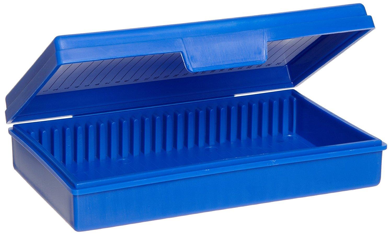 Heathrow Scientific HS15990A Microscope Slide Box, 25-Place, Polypropylene, Blue
