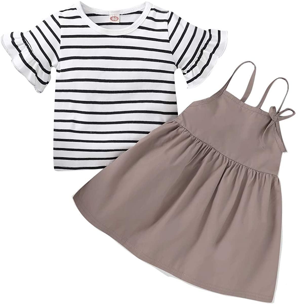 Toddler Baby Girl Summer Skirt Set Stripe Short Sleeve T-Shirt Top and Solid Color Strap Dress Infant Girl Clothes