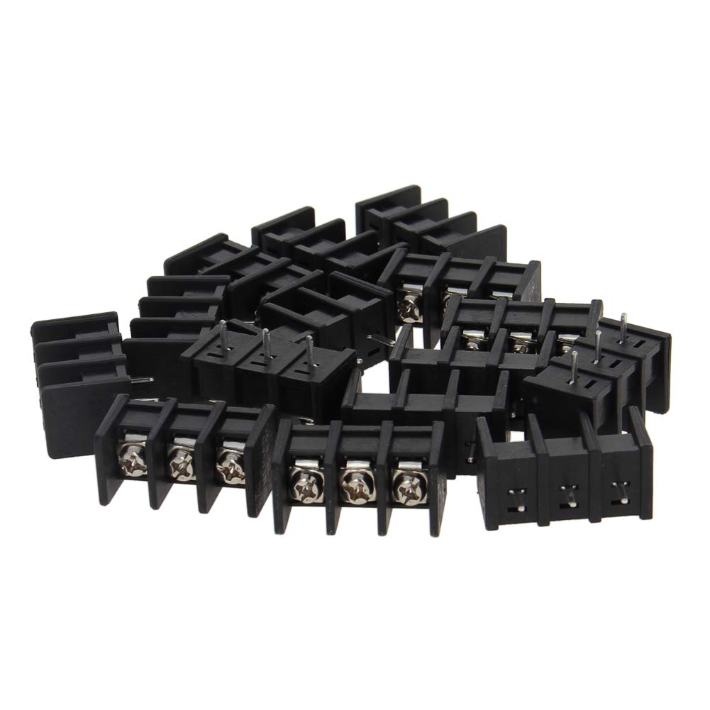 Fielect 15Pcs 300V 20A 8.25mm Pitch 3P Flat Angle Needle Seat Fence Type PCB Terminal Block Connector Black
