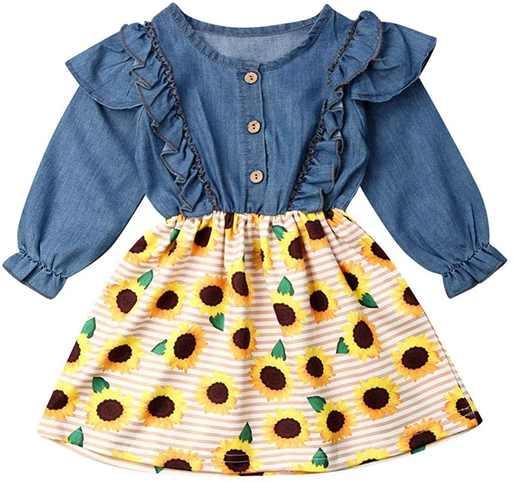Toddler Girl Sunflower Dress Sleeveless Denim Top Sunflower Print Tutu Dress Princess Summer Outfits