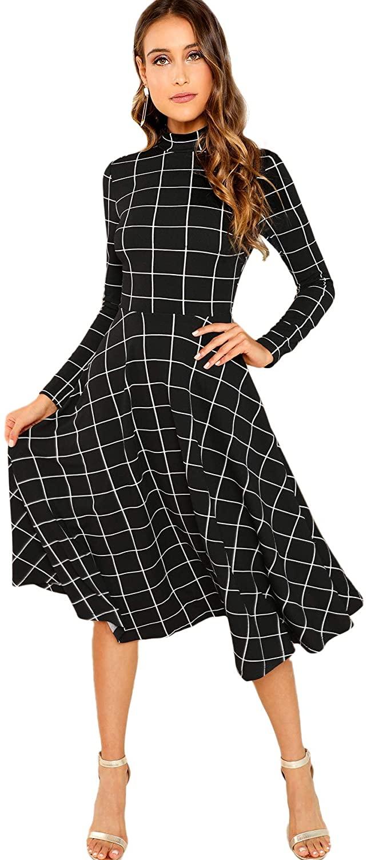 Floerns Womens High Neck Plaid Fit & Flare Midi Dress