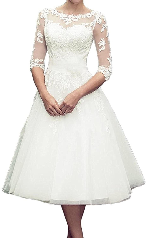 macria Women's Tea Length 3/4 Sleeve Lace Wedding Dresses Bridal Gowns