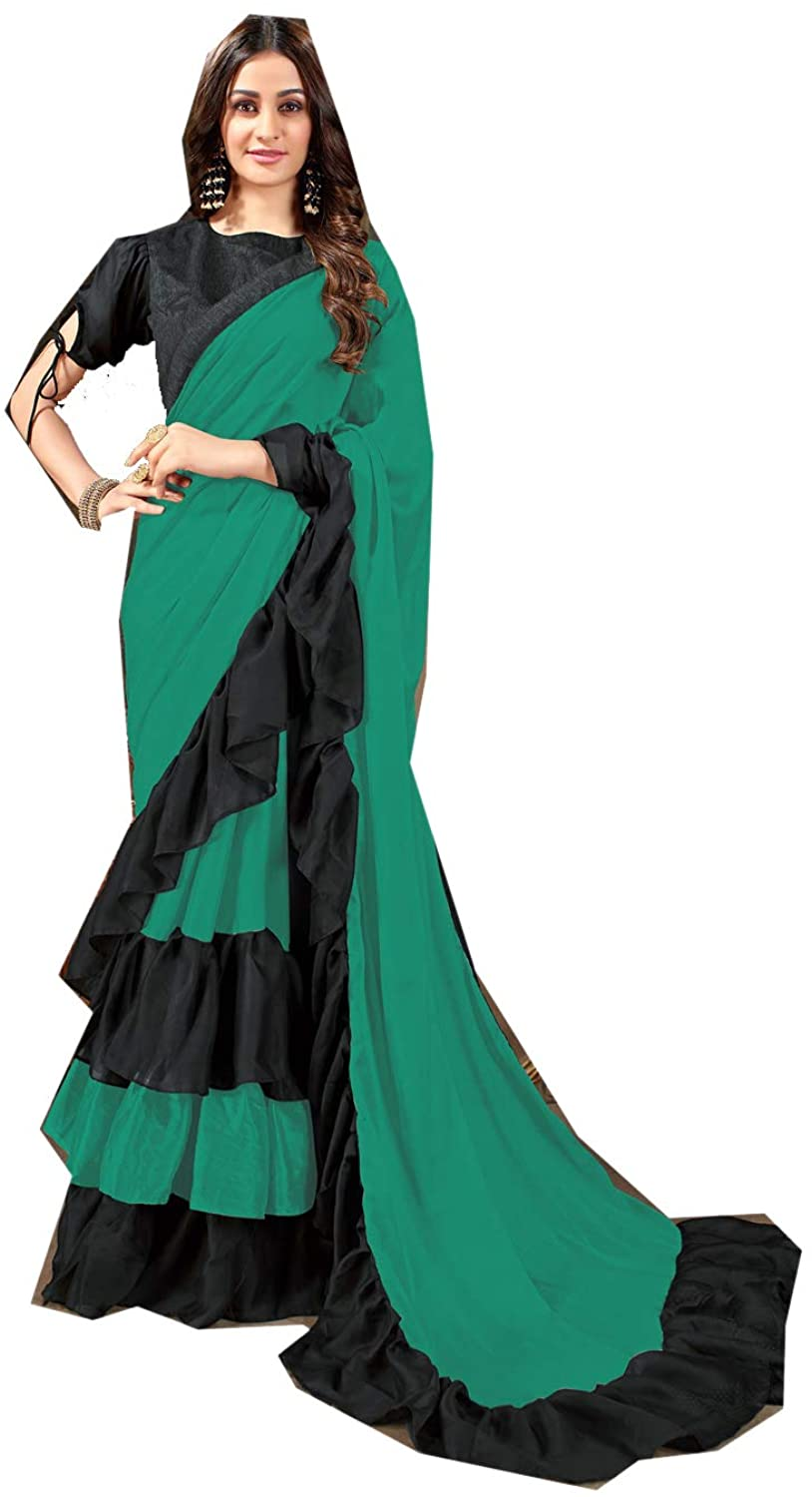 Saree for Women Bollywood Wedding Designer Rangoli Georgette Sari with Unstitched Blouse. Green