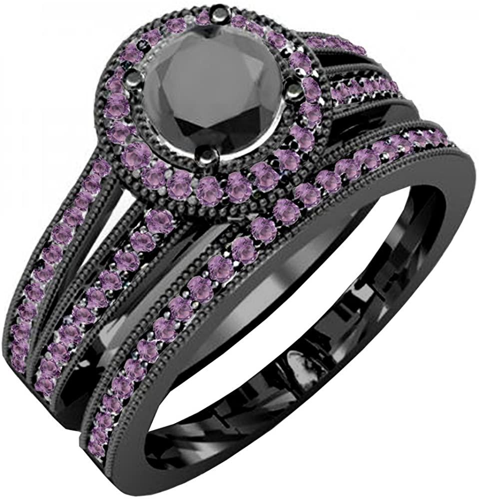 Dazzlingrock Collection Round Amethyst and Round Black Diamond Halo Bridal Engagement Ring Set, Black Rhodium Plated 14K White Gold