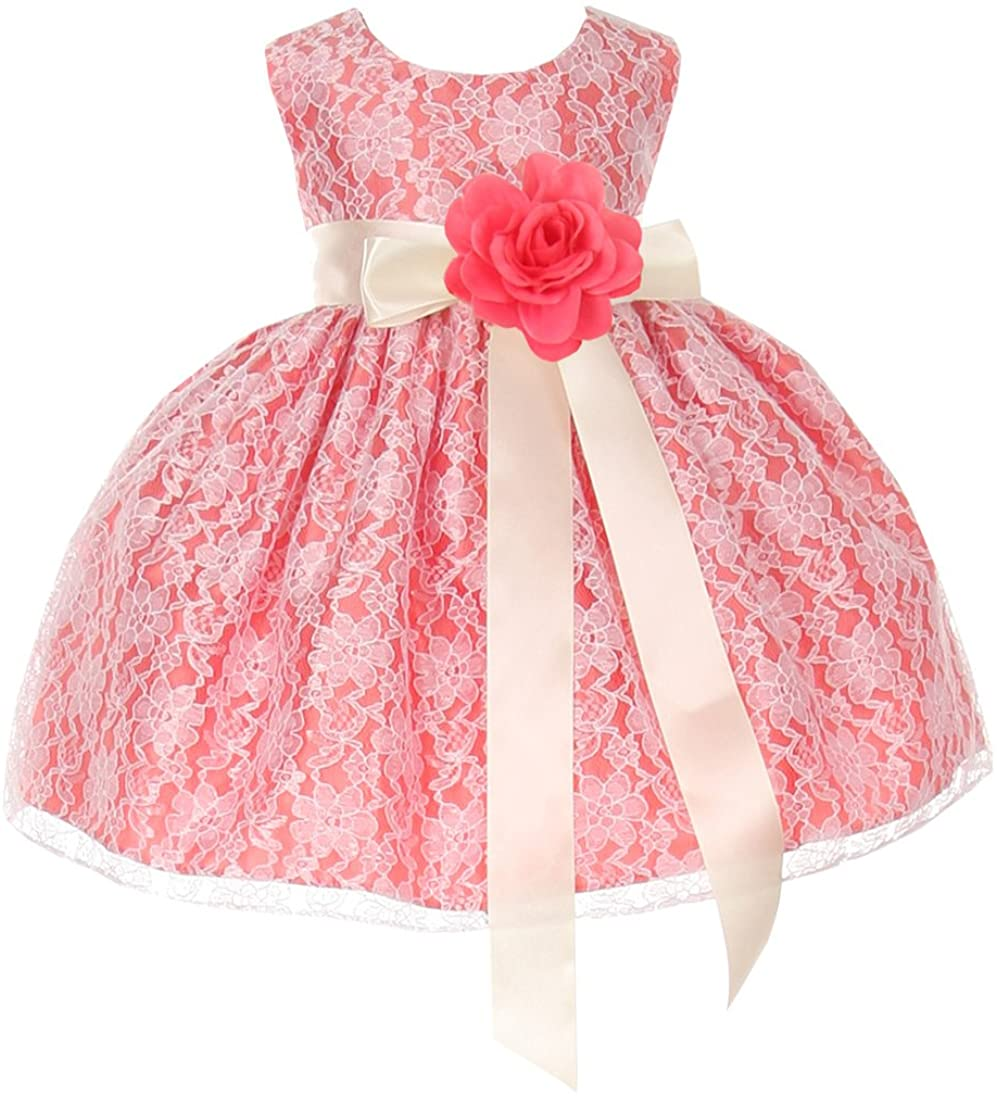 Cinderella Couture Baby Girls' Coral Lace Dress Ivory Sash Coral Flw 24M X 1132B