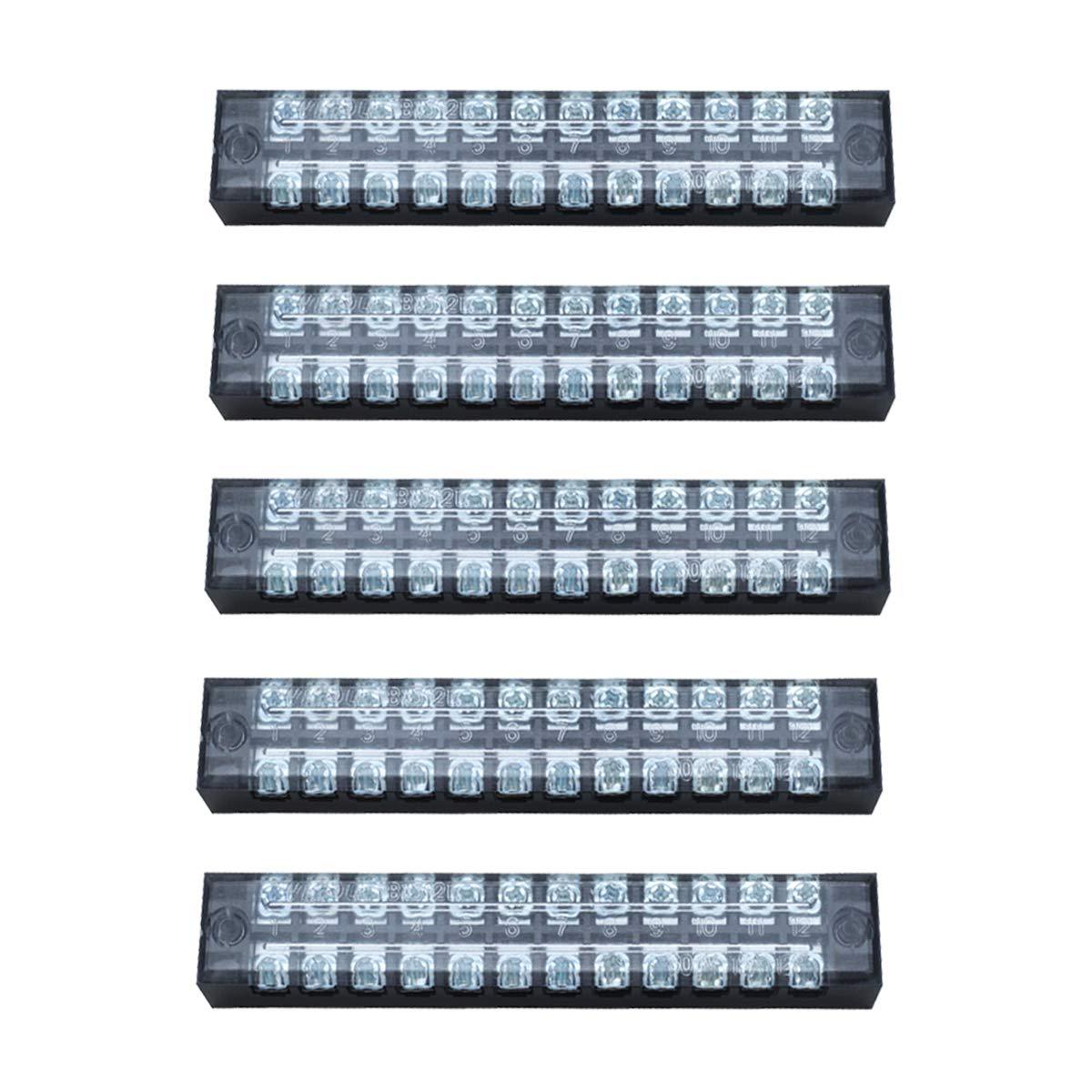 Dasunny 5Pcs Screw Terminal Strip 600V 15A Dual Row 12 Positions Electric Barrier Strip Block, TB-1512