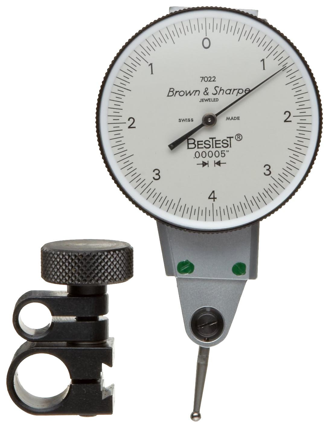 Brown & Sharpe 599-7022-3 Dial Test Indicator Set, Side Mounted, M1.4x0.3 Thread, White Dial, 0-4-0 Reading, 1.5