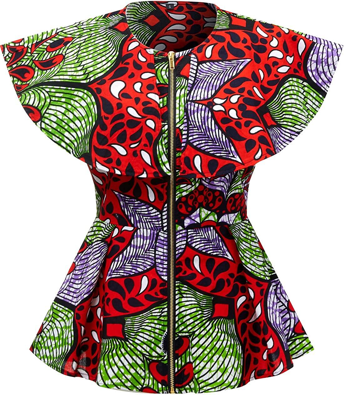 Shenbolen Women African Print Top Ankara Dashiki Shirt