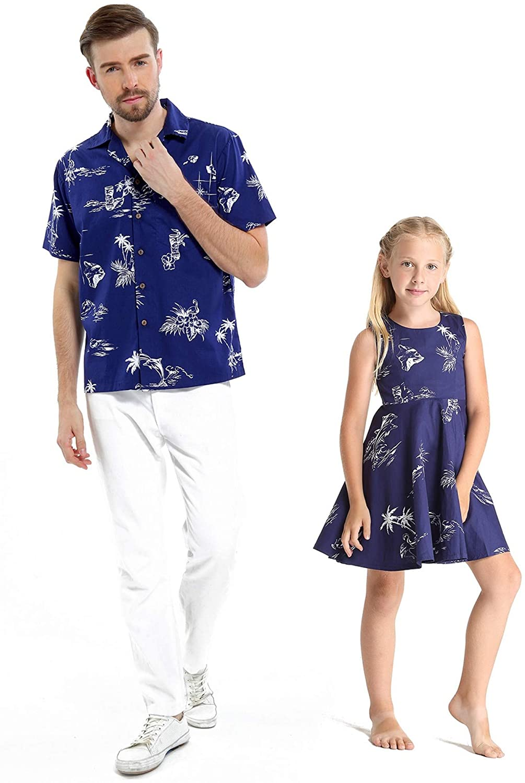 Matching Father Daughter Hawaiian Luau Dance Shirt Vintage Dress Classic Map Flamingo