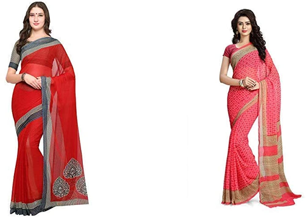 Indian Decor & Attire Women's Saree with Blouse Piece(Pack of 2)(Empress1127&RC3201_Item 1 Color Beige|Item 2 Color Pink_One Size)