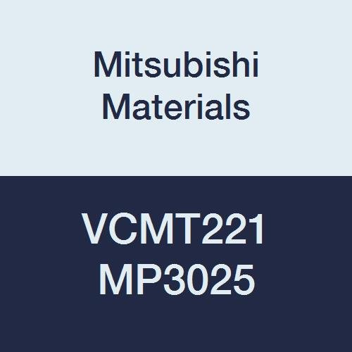 Mitsubishi Materials VCMT221 MP3025 PVD Coated Cermet VC Type Positive Turning Insert with Hole, Rhombic 35°, 0.25