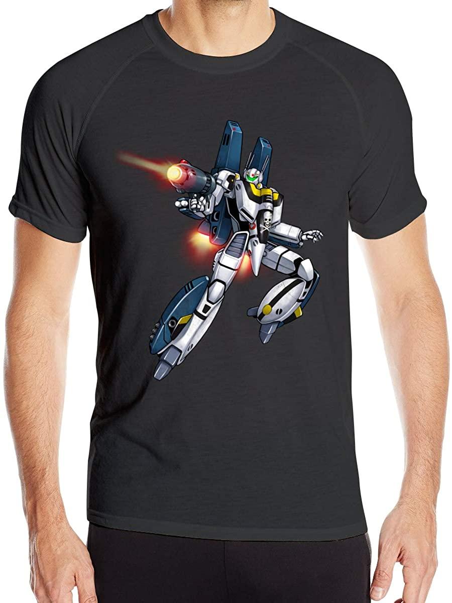 AIDANHAR New Quick Drying Robotech Flying Mecha T-Shirt for Mens Black