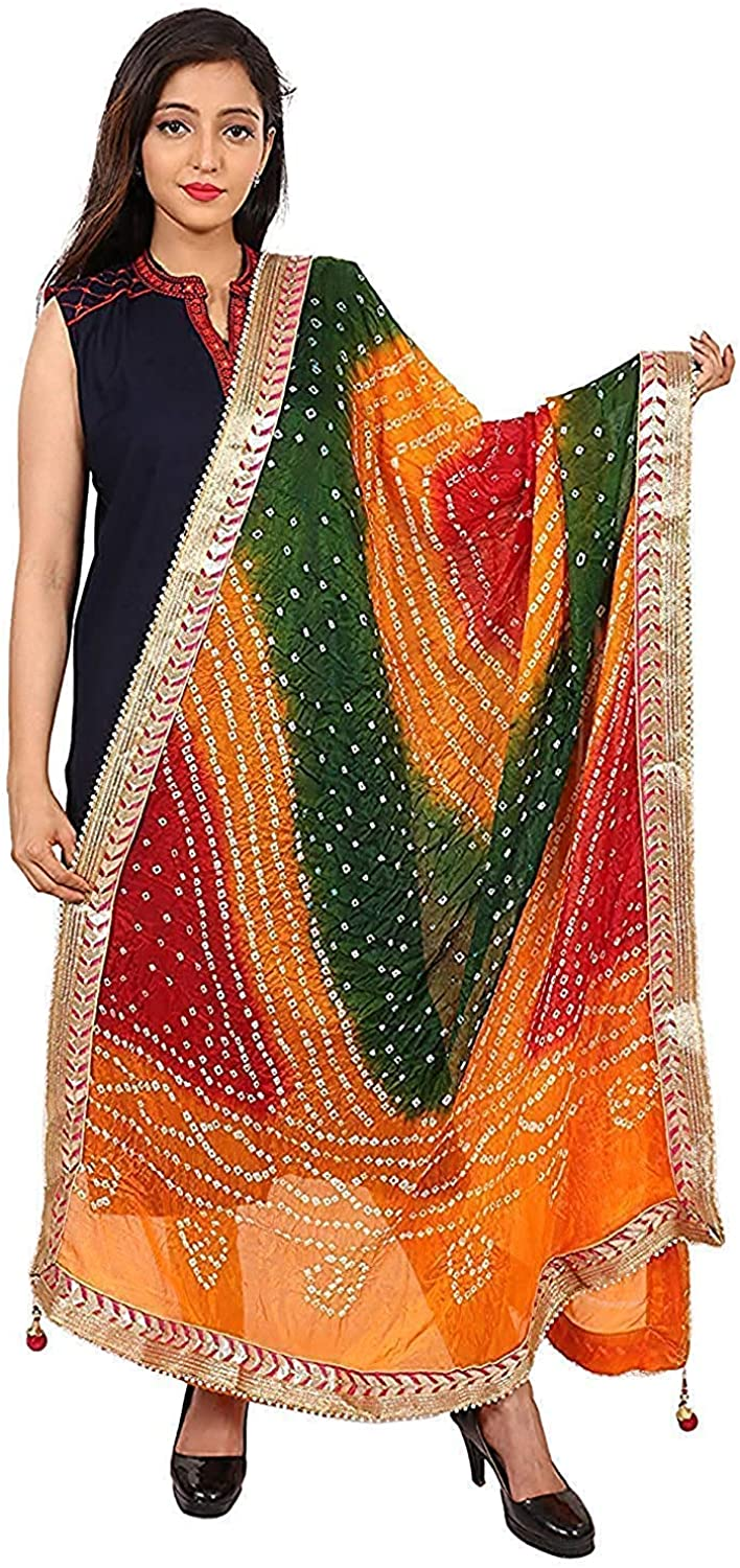 Kalpit Creations Women's Jaipuri Rajasthani Silk Bandhani Bandhej Multi-Colored Heavy Dupatta with Gota Work and latkan