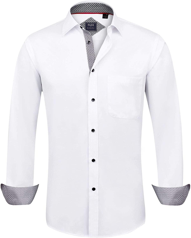 Alimens & Gentle Men's Dress Shirts Long Sleeve Wrinkle-Resistant Regular Fit Casual Shirt
