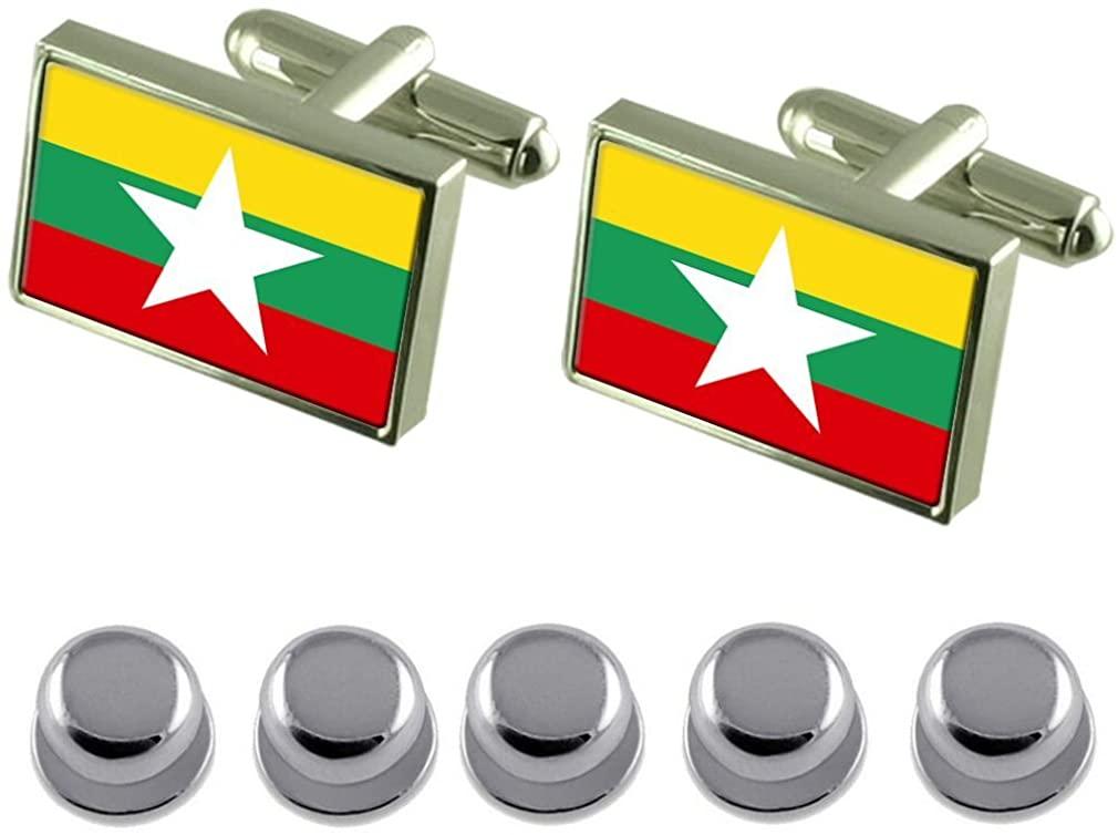 Select Gifts Shirt Dress Studs Burma Flag Cufflinks