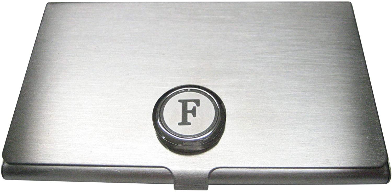 Kiola Designs Silver Toned Round Letter F Monogram Business Card Holder