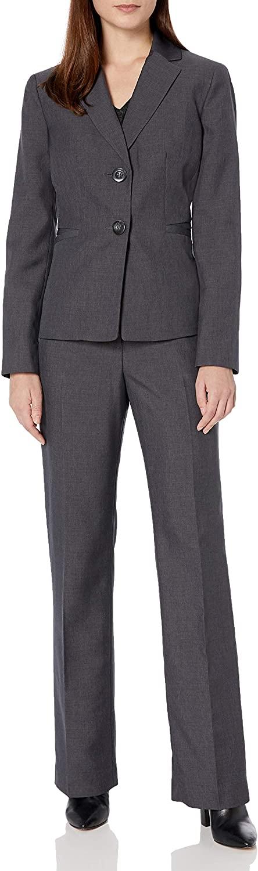 Le Suit Womens 2 Button Notch Collar Melange Pant Suit