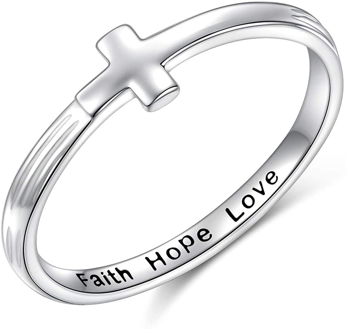 Inspirational Jewelry Sterling Silver Engraved Faith Hope Love Simple Cross Ring Christian Fashion Wedding Engagement Band, Size 5-10