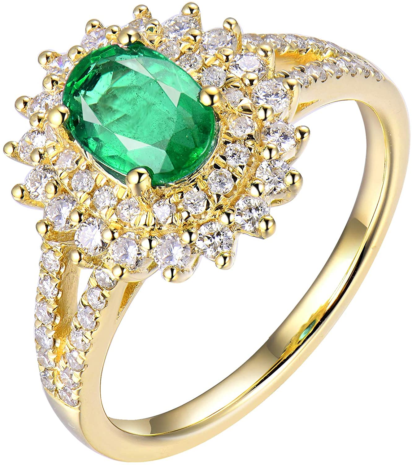 Lanmi Genuine Natural Oval Shape 5x7mm Emerald Engagement Diamond Ring Solid 18K Yellow Gold Ladies Women Rings