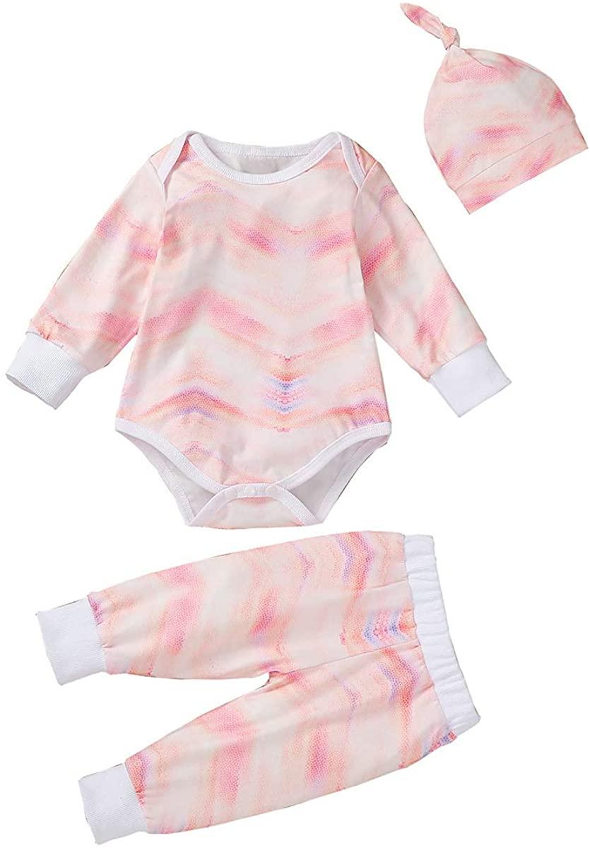 Newborn Baby Girls Boys Tie Dye Outfit Romper+Pants+Hat Pajamas Set Rainbow Long Sleeve Sleepwear Pjs Casual Clothes