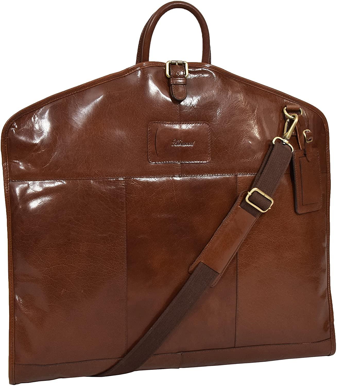 Leather Suit Carrier Bag Chestnut Suiter Case Travel Dress Garment Cover Finley