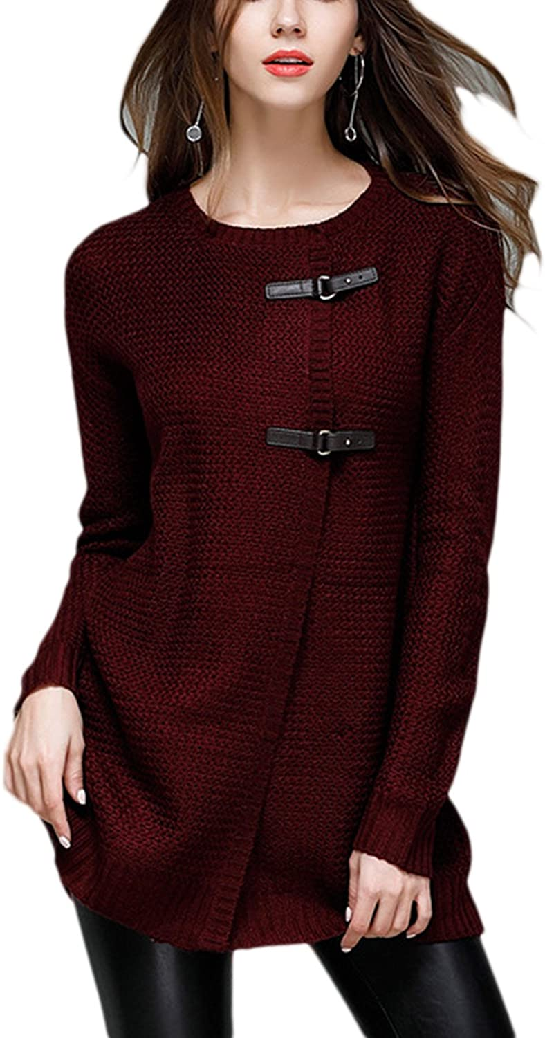 Lettre d'amour Women Leather Buckle Fall Winter Knitted Cardigan Sweater Outerwear Tops
