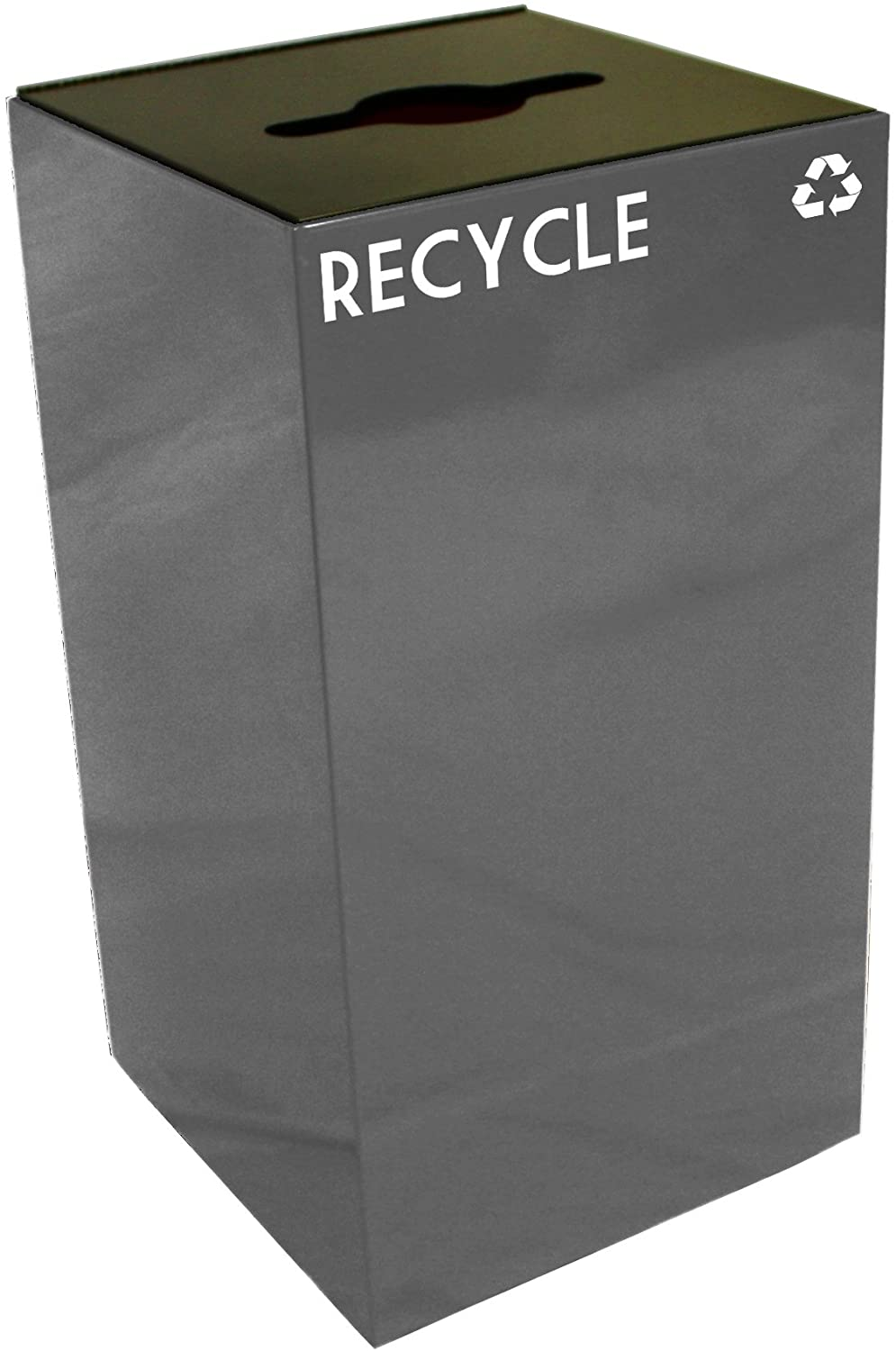 Witt Industries 28GC04-SL GeoCube Recycling Receptacle with Combination Slot/Round Opening, Steel, 28 gal, Slate