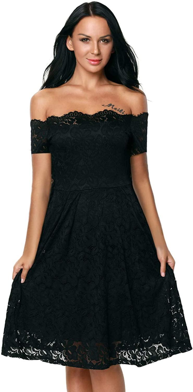 Designer97 Elegant Womens Off Lace Short/Long Sleeve Wedding Party Dress