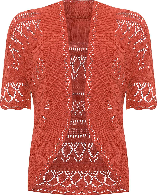 WearAll Women's Plus Size Crochet Knitted Short Sleeve Cardigan - Rust - US 14-16 (UK 18-20)