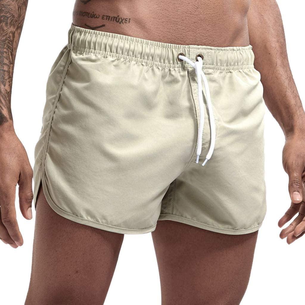 Mens Joggers Shorts Plain Elastic Waist Slim Fit Quick Dry Swim Shorts Swimsuits Summer Comfy Casual Workout Shorts