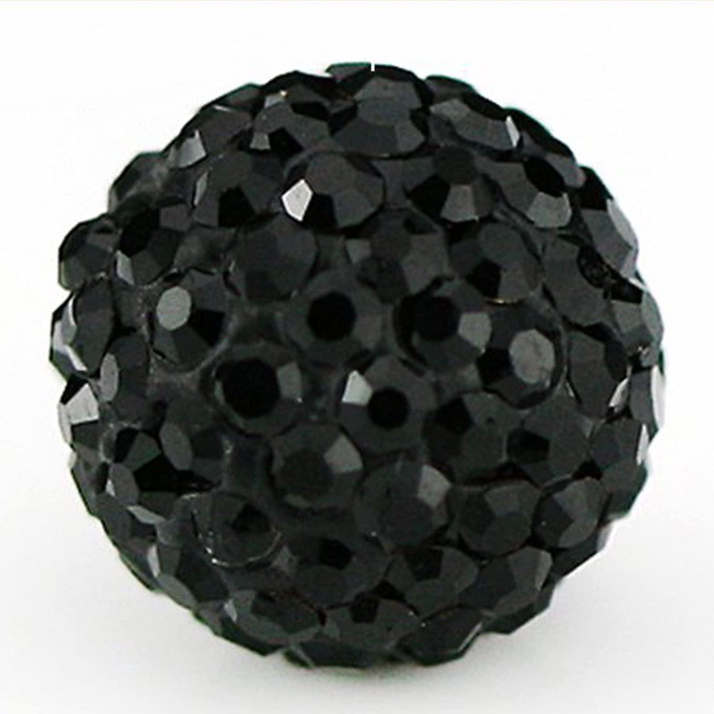 RUBYCA Pave Czech Crystal Disco Ball Clay Beads fit Shamballa Jewelry (20pcs, 10mm, JB Black)
