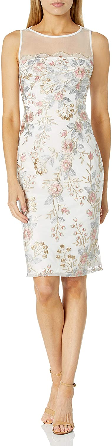 Adrianna Papell Women's Embroidered Scalloped Sheath