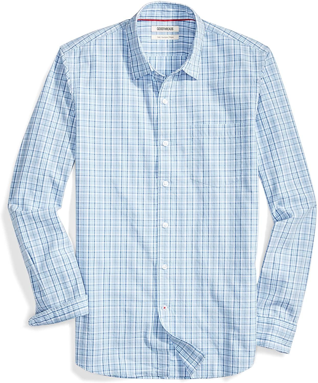 DHgate Brand - Goodthreads Men's Slim-Fit Long-Sleeve Plaid Poplin Shirt