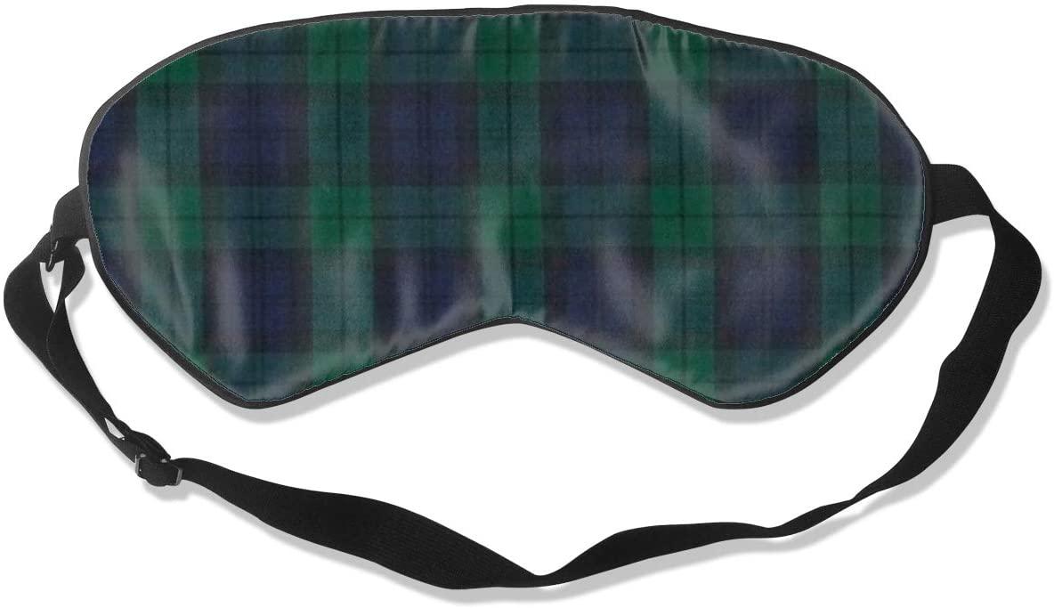 Sleep Eye Mask For Men Women,Deep Blue & Green Plaid Soft Comfort Eye Shade Cover For Sleeping