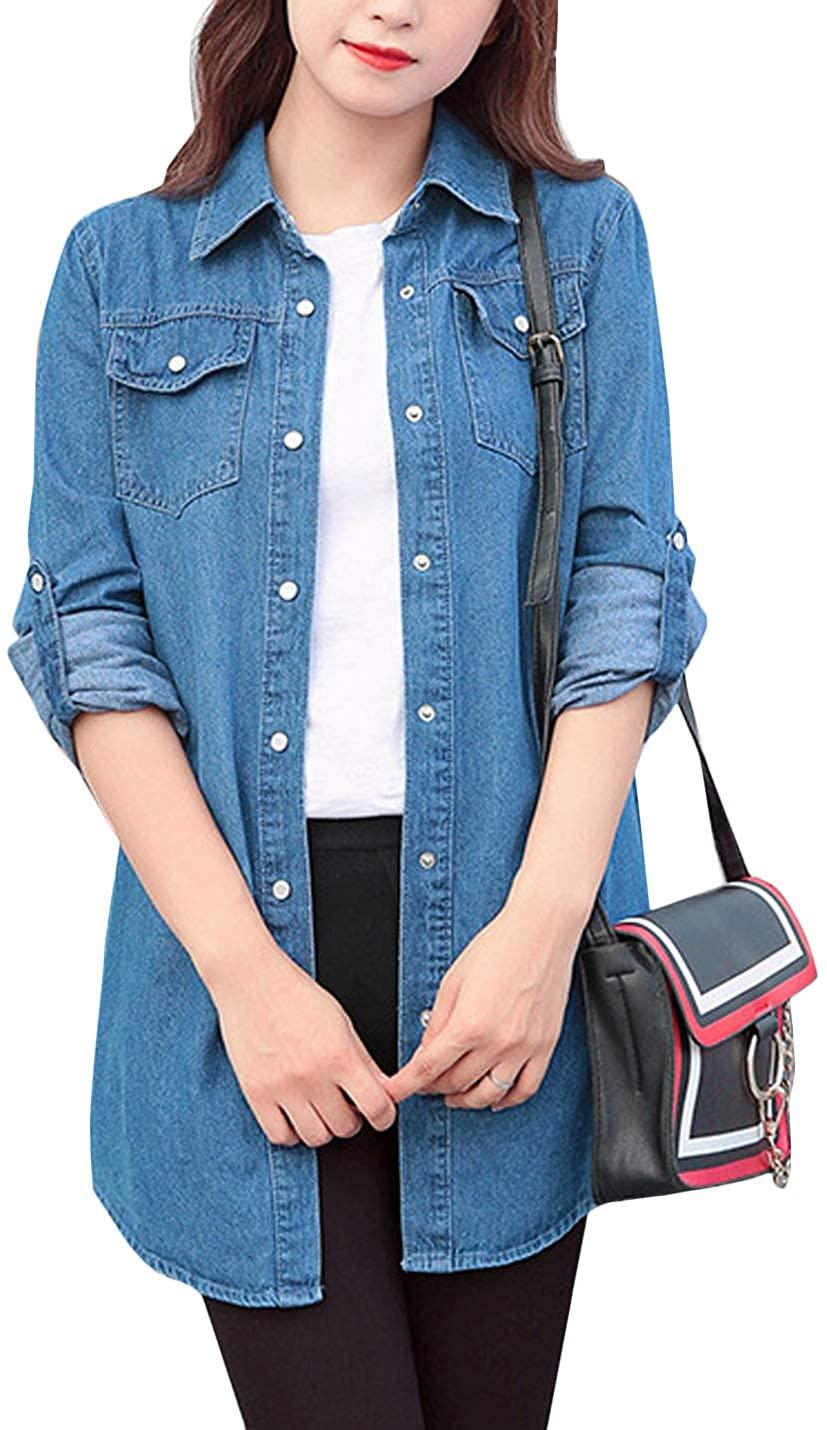 Flygo Women's Chambray Button Down Denim Shirt Jacket Long Sleeve Midi Jean Blouse