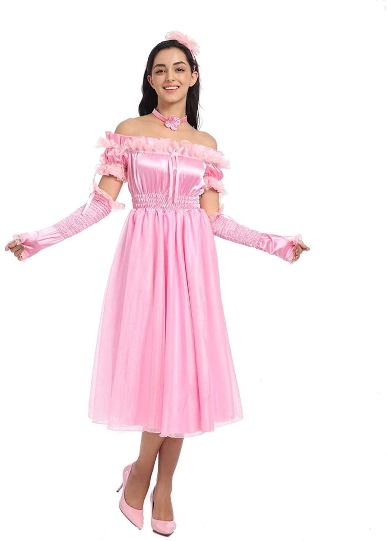 JOLINE Sissy Women Sweet Off Shoulder Slim Fit Bow Pink Dress Crossdressing