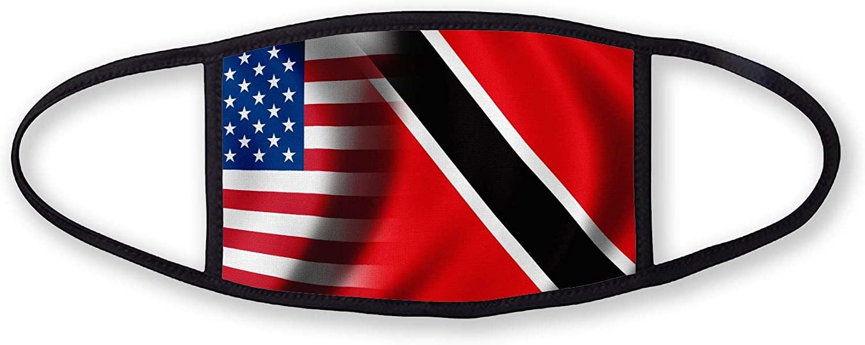3-Layer reusable/washable Facemask - Flag of Trinidad & Tobago - Waves with USA Flag